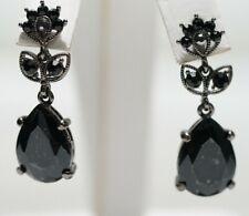 Joseph Esposito Ashley Classics - Black Crystal Dangling Leaf Flower Earrings