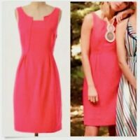 Anthropologie Edme & Esyllte Size 12 Coral Pink Panels Pleats Dress Linen Blend