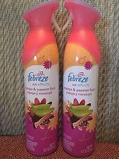 2 Febreze Air Effects PAPAYA & PASSION FRUIT Fragrance Mist Air Refresher