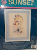 Sunset by Dimensions Cathy girl and doll pink dress floral Sealed embroidery kit