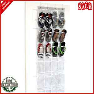 Hanging Shoe Organizer Over The Door 24 Pockets Crystal Clear Fabric Gray