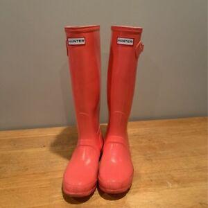 Hunter Unisex Gloss Rain Boots Pink Platform Low Heel Knee High Buckle W 7 M 6