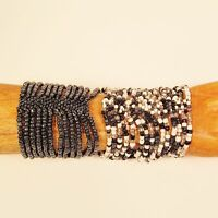 Set of 2 Black, White Multi Strand Handmade Cleo Stretch Seed Bead Bracelets