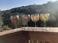 Vintage Hand Painted Wine Glasses Set Of Four