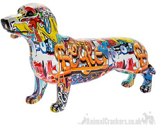 More details for x large 43cm graffiti art dachshund ornament figurine sausage dog lover gift