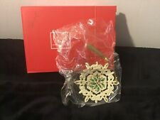 Lenox Snowflake Ornament With Holly Berry Design Christmas White Porcelain New