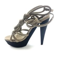 Burberry Womens Taupe Tan Leather Strappy Open Toe High Heels 38