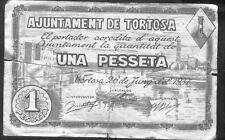 Ayuntamiento de TORTOSA 1 Peseta Junio 1937 @ Baix Ebre - Tortosa @