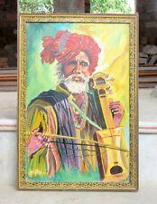 Vintage Old Rare Artist Sign Indian Villager Old Man Fine Oil Painting Folk Art