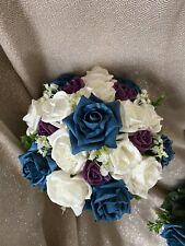 Ramo De Flores De Dama De Honor Boda Marfil Rosas ciruela y Verde Brillante Rosas con Gyp
