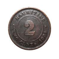 KM# 8 - 2 Cents - Queen Victoria - Mauritius - 1884 (F)