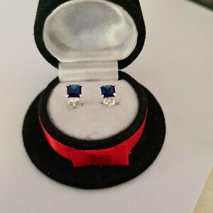 Asccher cut Sapphire stud earrings in Sterling Silver