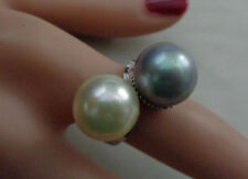 STERLING VINTAGE RING WITH TTWO BEAUTIFUL FAUX PEARLS  SIZE 7