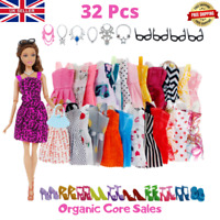 Brand New 32pc Clothes And Accessories For Barbie Doll Dresses Shoes Necklaces