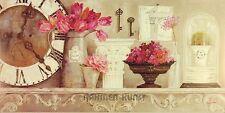 Kathryn White Time for Blooms Keilrahmen-Bild 50x100 Leinwand Uhr Blumen Shabby
