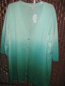 Isaac Mizrahi Live green dip dye cardigan sweater 3X long  button front NEW