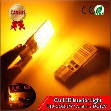 1Pcs Yellow Amber Canbus Error Free T10 COB 3W LED Car Light Bulb W5W 194 DC12V