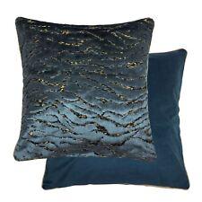 2X Irregular Estampado Chenille Terciopelo Azul Dorado Ribeteado 45.7cm-45cm