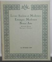1975 Catalogue de vente Hôtel Drouot Salle N°8 LIVRES ANCIENS ESTAMPES MODERNES