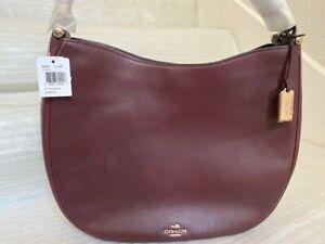 NWT Coach 36026 Nomad Hobo Oxblood Wine Glovetanned Leather Purse Handbag