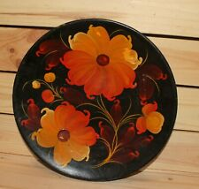 Vintage floral hand painted wood wall hanging plate flowers