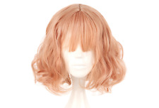 Short Pastel Air Bang Harajuku Pink Gold Cosplay Wig High Temperature Fiber