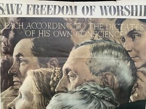 NORMAN ROCKWELL Vintage Poster FOUR FREEDOMS: FREEDOM OF WORSHIP Large Version