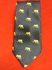 "Kai Long Hand Made 100% Silk Blue Tie with Elephants 60"" x 3 3/4"" Euc"