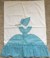 Sunbonnet Sue Applique Gingham Chicken Scratch Pillowcase Handmade Vintage Teal
