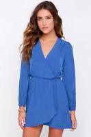 Topshop Love Blue Long Sleeve Wrap Dress UK 10 12 EURO 38 40 US 6 8 BNWT