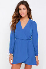 Topshop love bleu à manches longues wrap robe uk 8 10 euro 36 38 4 us 6 bnwt