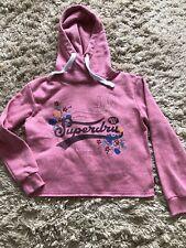 Superdry Yokohamh High Flyers Sweatshirt Hoodie Size 8 Pink Logo Floral