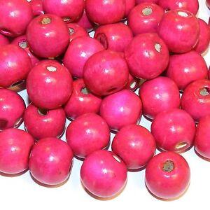 WL746 Pink 20mm Semi- Round Large Wood Beads 250-Grams