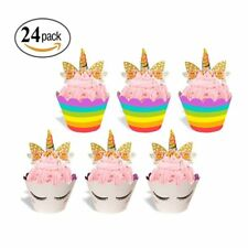24sets Baby Shower Rainbow Unicorn Cupcake Cake Wrappers Toppers Kid Birthday US