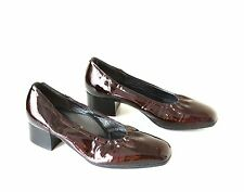 Women's Vintage VALLEVERDE Italian Deep Red 100% Patent Leather Shoes Pumps UK5