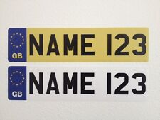 Personalised Kids GB NUMBER PLATES Stickers FOR CHILDS RIDE ON CAR Truck Jeep