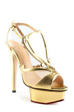 Charlotte Olympia Gold Leather $1295 Trophy Sandals 35.5 NEW In Box LL19LL