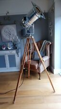 Retro Chic Floor Lamp - Long Theatre Stage Spotlight and Wooden Tripod