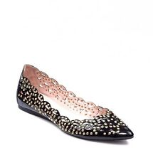 Vince Camuto Black Tamma Studded Cutout & Scalloped Pointed Toe Ballet Flats 7