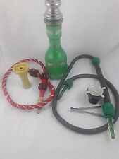 """Hookah With Green Glass Base & Accessories-Large 30""""-36"""" Tall"""