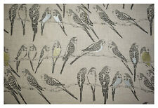 "Linen Parakeet Bird Animal Accent Printed Tan Drapery Upholstery Fabric 56"" W"