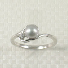Cute Solid Sterling Silver 925 Cubic Zirconia SilverTone Cultured Pearl Ring TPJ