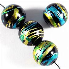 Lot de 20 perles en verre Décorées 12mm Noir Doré