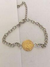 Elizabeth I Quarter Angel Coin WC51 Gold English Pewter on a Anklet / Bracelet