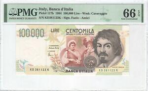 Italy 100000 Lire 1994 P-117b PMG 66 EPQ