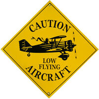 Caution Low Flying Aircraft Airplane Vintage Aviation Porcelain Metal Sign
