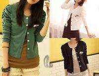 AU SELLER Women's Girl's Cotton Cardigan Crop Top Long sleeve T-shirt T059