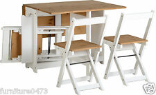 White Pine Folding / Drop Leaf / Butterfly Dining Table & 4 Chairs SANDY