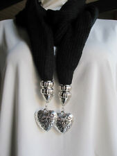 Black Fashion Jewelry Pendant 2 Hearts Scarf Cotton Knit  NEW 013