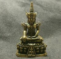 LORD BUDDHA THAI MINI AMULET BEAUTIFUL TINY BRASS STATUE LUCKY HAPPY WEALTH LIFE
